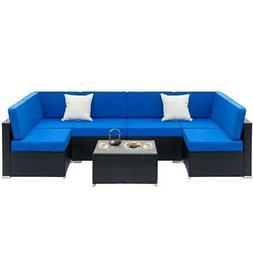 1-7PCS Outdoor Patio Sectional Furniture PE Wicker Rattan So