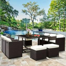 11 pcs outdoor patio dining set metal