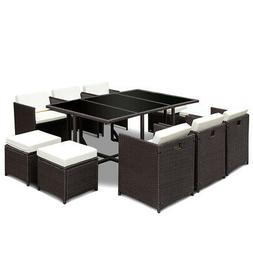 11 PCS Outdoor Patio Dining Set Metal Rattan Wicker Furnitur