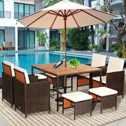 11 PCS Outdoor Patio Dining Set Rattan Wicker Furniture Gard