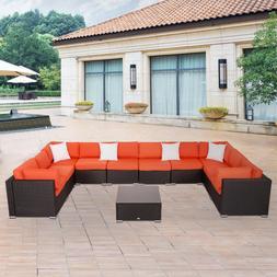 2-11 PCs Patio Rattan Wicker Sofa Set Sectional Furniture w/