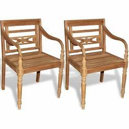 vidaXL 2 pc Teak Wood Dining Arm Chair Outdoor Garden Patio
