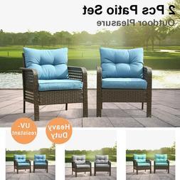 2 Pieces Outdoor Patio Furniture Set Sectional Sofa Rattan C
