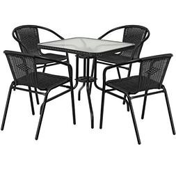 28'' square glass metal table with black rattan edging and 4