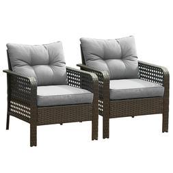 2PC Patio Rattan Sofa Set Wicker Garden Furniture Outdoor Se