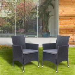 2PC Patio Rattan Wicker Chair Sofa Garden Furniture with Cus
