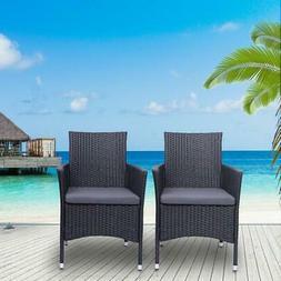 2PC Patio Rattan Wicker Chairs Sofa Set Patio Garden Furnitu