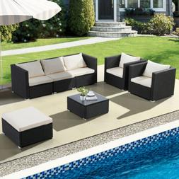 3/4/5/6/7PCS Rattan Wicker Sofa Set Sectional Couch Furnitur