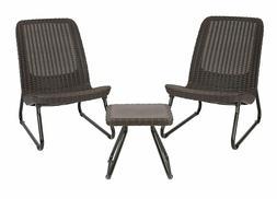 Keter Rio 3  Outdoor Patio Garden Conversation Chair & Table