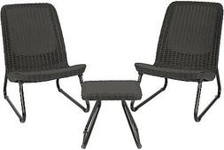 3 Pc All Weather Outdoor Patio Garden Conversation Chair and