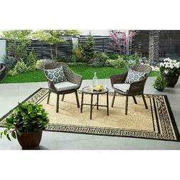 3 PC Outdoor Patio Resin Wicker Furniture Gray Contemporary