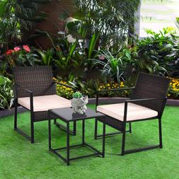 3 PC Rattan Wicker Furniture Table Chair Sofa Cushioned Pati