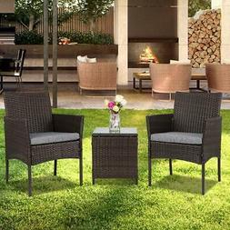3 pcs Chairs Table Conversation Set Patio IN/Outdoor Wicker