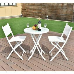 3 PCS Folding Bistro Table Chairs Set Garden Backyard Patio