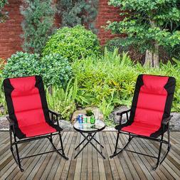 3 PCS Outdoor Folding Rocking Chair Table Set Bistro Sets Pa