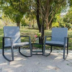 3 PCS Outdoor Patio Rattan Wicker Furniture Set Chair Cushio