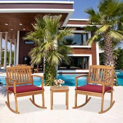 3 PCs Patio Furniture Set Rocking Chair W/ Coffee Table Cush
