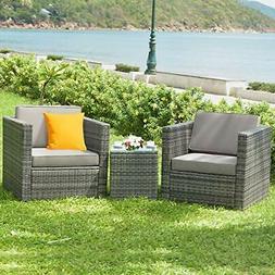 3 PCS Patio Wicker Bistro Set Outdoor Rattan Sofa Set Furnit