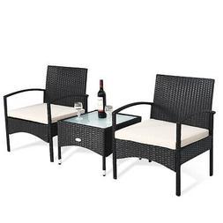 3 PCS Patio Wicker Rattan Furniture Set Coffee Table & 2 Rat