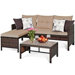 3 PCS Patio Wicker Rattan Sofa Set Sectional Conversation Fu
