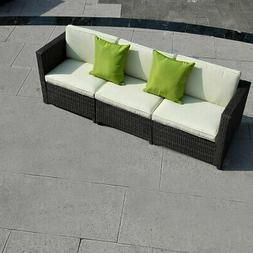 3 PCS Patio Wicker Sofa Couch Cushioned Chair Pillow Garden