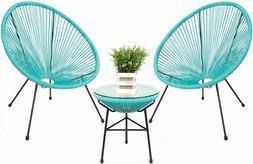 3-Piece All-Weather Patio Acapulco Bistro Furniture Set Glas