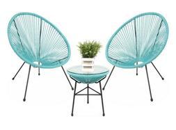 3-Piece All-Weather Patio Acapulco Bistro Furniture Set w/ R