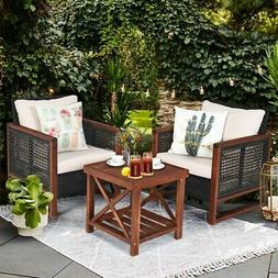 3 Piece Conversation Set With Armchairs Cushions Table Outdo