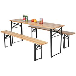 3 Piece Folding Wooden Picnic Table Bench Set Outdoor Furnit