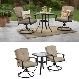 3 Piece Outdoor Bistro Set Tan Cushioned Swivel Chair and Gl