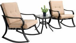 3-Piece Outdoor Rocking Chairs Bistro Set, Black Steel Patio