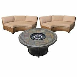 """3 Piece Patio Furniture Set with 48"""" Round Gas Fire Pit Tabl"""
