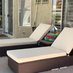 3 Piece PE Wicker Rattan Chaise Lounge Chair Bed Set Patio F