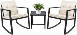 3 Piece Rocking Bistro Set Wicker Patio Outdoor Furniture Po