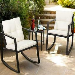 3-Pieces Black Rocking Wicker Bistro Sets Modern Outdoor Pat