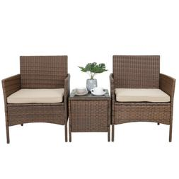 3 Pieces Patio Bistro Furniture Sets PE Rattan Wicker Chairs