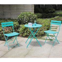 3 Pieces Patio Bistro Set Folding Steel Furniture Balcony Ta