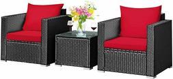 3 Pieces Patio Furniture Set, PE Rattan Wicker Sofa Set Outd