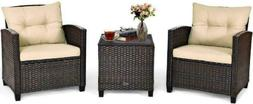 Tangkula 3 Pieces Patio Furniture Set, Pe Rattan Wicker 3 Pc