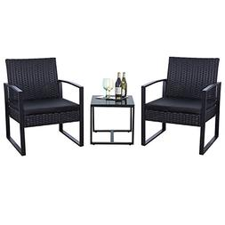 Flamaker 3 Pieces Patio Set Outdoor Wicker Patio Furniture S