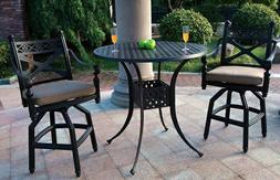3pc Bar Set Outdoor Patio Furniture Antique Bronze Cast Alum