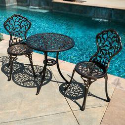 3PC Bistro Set in Antique Outdoor Patio Furniture Leaf Desig