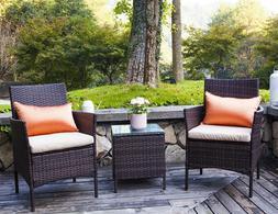 3PC Bistro Set Sectional Patio Furniture Set Brown Rattan Wi