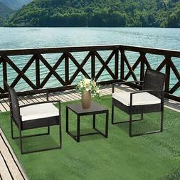 3pc Garden Table Sofa Chair w/ Cushion Outdoor Rattan Patio