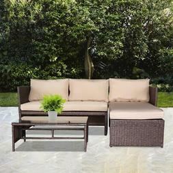 3PC Outdoor Patio Sofa Set Rattan Wicker Table Chairs /w Cou
