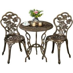 3pc Patio Bistro Set Furniture Outdoor Garden Table Chair Br