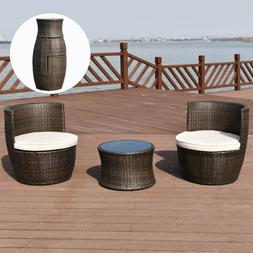 3PC Patio Furniture Set Modern Wicker Outdoor Compact Conver