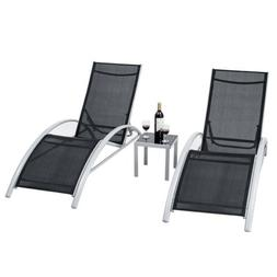 3PCS Adjustable Chaise Lounge Chairs Set Outdoor Patio Pool