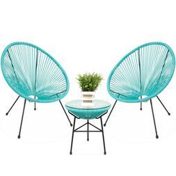 3pcs All-Weather Patio Acapulco Bistro Furniture Set Rope Gl