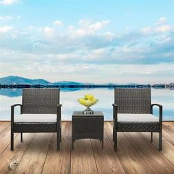 3pcs Outdoor Furniture Patio Set Wicker Rattan Conversation